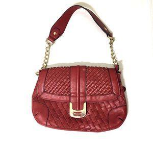 BIG BUDDHA Red Woven Gold Chain Handbag
